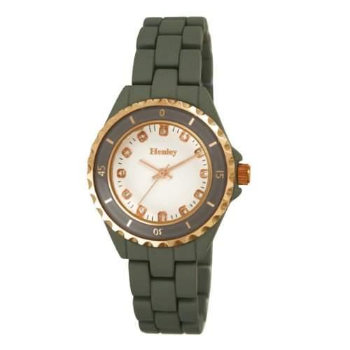 Henley Groesse M Fashion Rose Armband mit goldenen Highlights WomenQuarz-Uhr mit weissem Zifferblatt Analog-Anzeige und Grau-Armband Edelstahl vergoldet H0723213