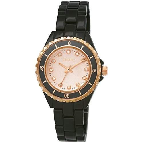 Henley Fashion Sports Uhr mit Farbe aufeinander abgestimmtes Zifferblatt Damen Quarzuhr mit Rose Gold Zifferblatt Analog-Anzeige und schwarz Edelstahl vergoldet Armband h072343