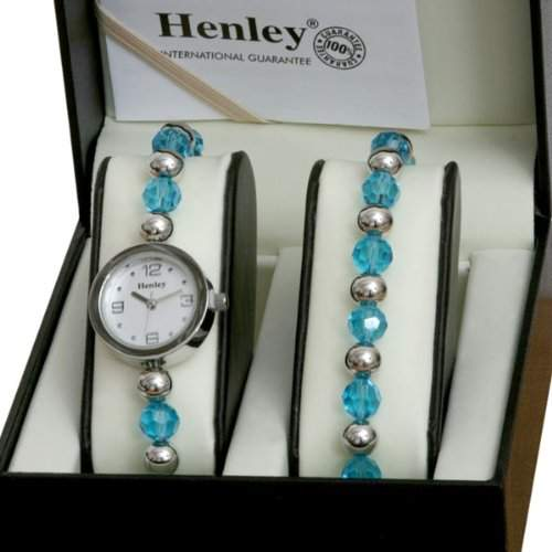 Henley Damen-Armbanduhr Henley watch and bead bracelet gift set Analog edelstahl beschichtet silber H13506