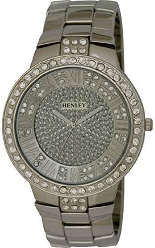 Strasssteine Henley Herren-Armbanduhr Disciplin Analog-Anzeige und Silber-Edelstahl-Armband HB0081