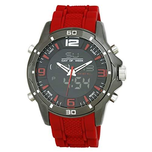 Henley Sports Watch auf Men- Silikon-Buegel Digital-Armbanduhr mit Grau Dial Analog-Digital Quarz Silikon rot HDG02010 Gurt