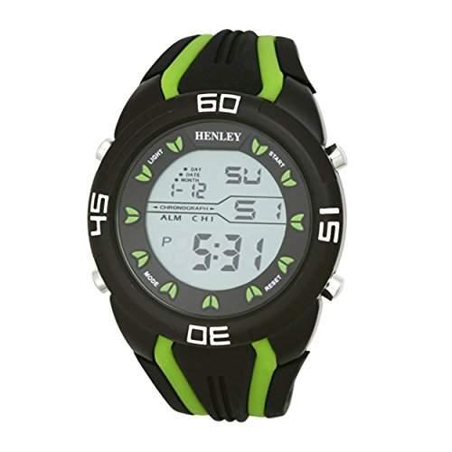 Henley Digital Sport-Chronograph mit Silikonband MenDigital Uhr mit Grau Dial Digital Display und HDG02111 Silikon Gruen