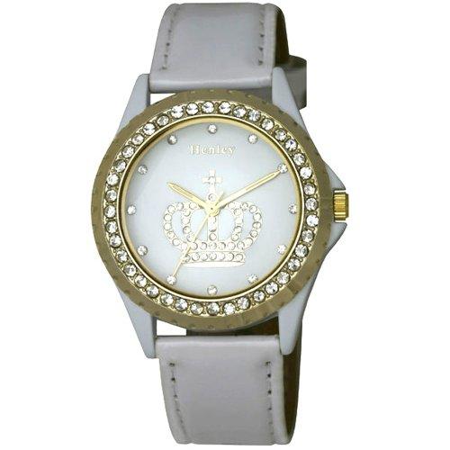 Henley Henley Ladies Crown Diamante Fashion Watch Analog Kunststoff weiss H06067 4