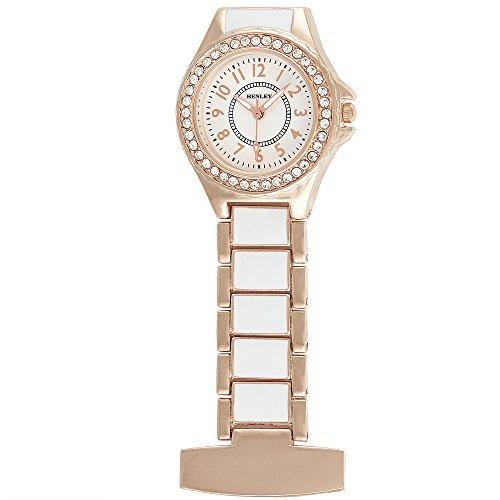 Henley Damen Fashion Weiss Rose Gold Emaille Link mit Crystal Set Taschenuhr hf06 44