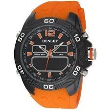 Henley Herren Fashion Orange Rueckseite Licht Silikon Gurt Ana Digi Armbanduhr
