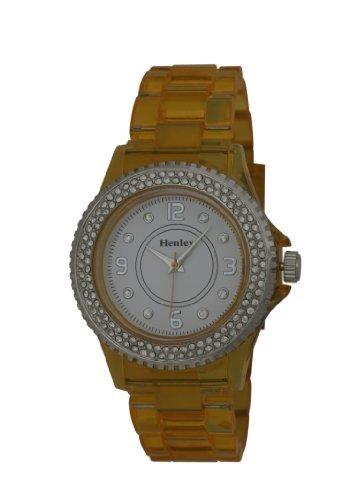 h0847 9 Henley h0847 9 mit Weiss Stone Set Zifferblatt und Luenette Stone Set mit Gelb see though Kunststoff Armband