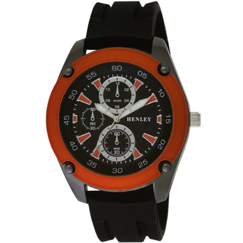 Henley Herren Armbanduhr Henley Gents Decorative Multi Dial Sports Watch Analog silikon schwarz H02057 8