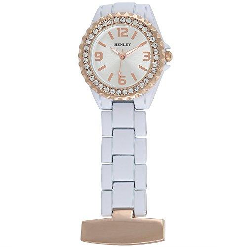 Henley Kosmetikerin Krankenschwestern Pfleger mit Crystal Rose Gold Pocket Taschenuhr Weiss hf01 14