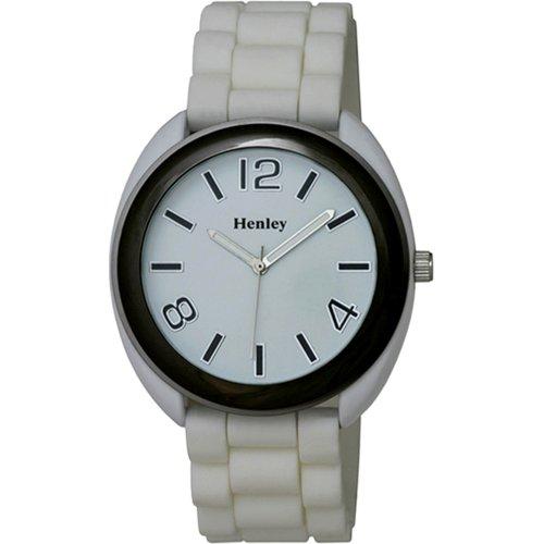Henley Womens Summer Mode Quarz Uhr mit weissem Zifferblatt Analog Anzeige und weisse Silikon Strap H0880 3