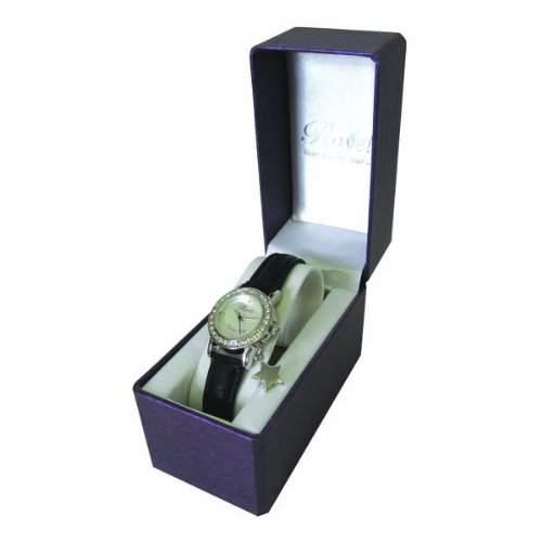 Ravel Lucky Starmit Geschenkbox und Spruch WomenQuarz-Uhr mit weissem Zifferblatt Analog-Anzeige und Schwarz PU Strap J-NW092S