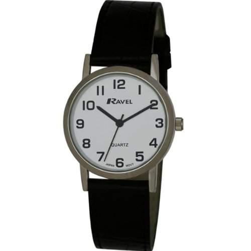 Ravel Herren Armbanduhr, Analog, schwarzes PU-Armband, weißes Zifferblatt, R0102021