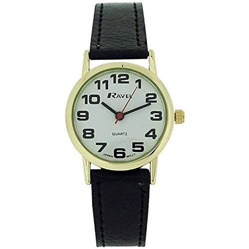 Ravel - R0105051 -klassische Damenuhr mit schwarzem Armband