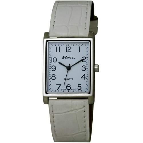 Ravel Damen Armbanduhr, Analog, weißes PU-Armband, weißes Zifferblatt, R0120041