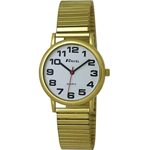 Ravel leicht lesbare Uhr an dehnbarem Men- Armbanduhr Analog Edelstahl Gold R0208011S Armband vergoldet