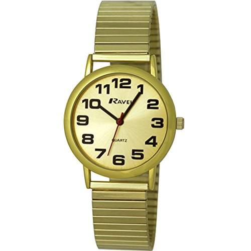 Ravel leicht lesbare Uhr an dehnbarem Men- Armbanduhr Analog Quarz Edelstahl Gold R0208051S Armband vergoldet