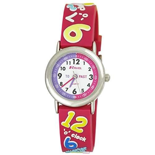 Ravel sagen, die Zeit 3D mit timeteacher Zifferblatt Kinder Quarz-Uhr mit weissem Zifferblatt Analog-Anzeige und Kunststoff-Gurt r151341