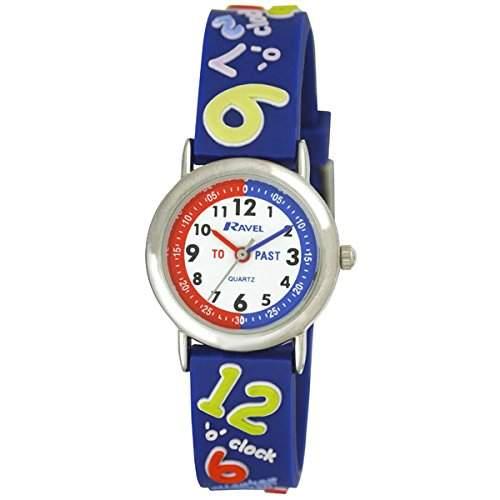 Ravel sagen, die Zeit 3D mit timeteacher Zifferblatt Kinder Quarz-Uhr mit weissem Zifferblatt Analog-Anzeige und Kunststoff-Gurt r151342