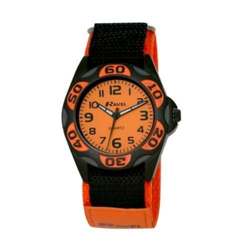 Ravel R160157M Jungen Quarz-Armbanduhr, schwarzes Nylonarmband mit Klettverschluss, Analog, oranges Zifferblatt