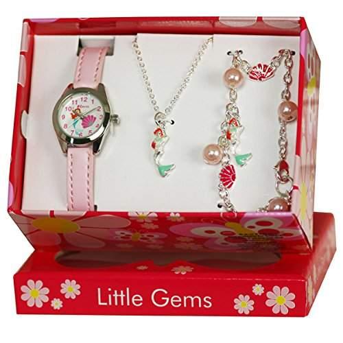 Ravel Maedchen-Armbanduhr Ravel Little Gemz Mermaid Childrens Jewellery Set Analog Plastik Rosa R