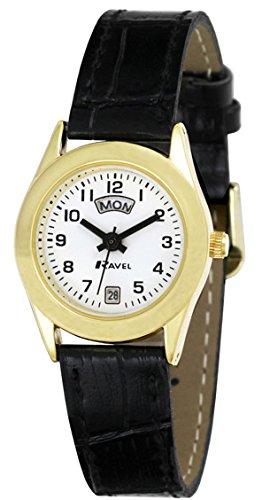 Ravel Daman Armbanduhr klassisch Gold 3 Zeiger Tages Datumsanzeige auf Schwarzem PU Leder Kroko Armband r0706 16 2
