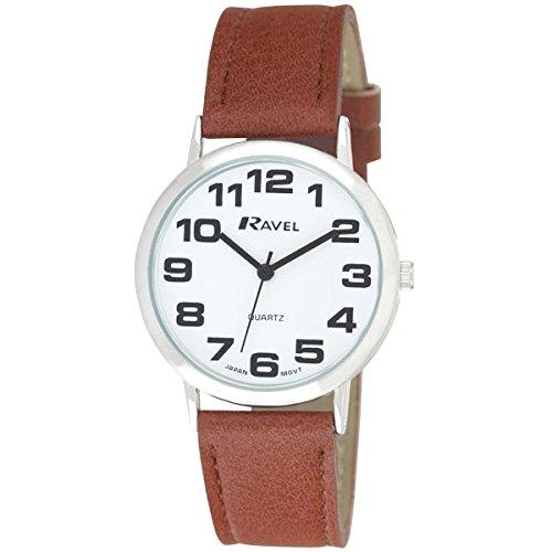 Ravel Unisex Armbanduhr R0105 32 1A Zifferblatt rund Weiss mit Armband Braun