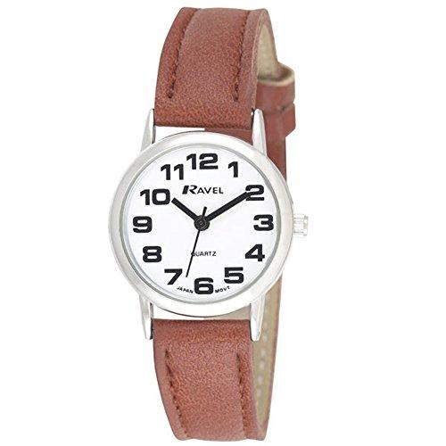 Ravel Damen weiss rund Zifferblatt Uhr mit Braun Gurt r0105 32 2 a