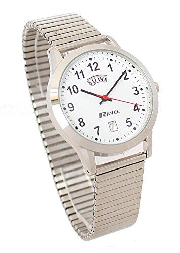 Ravel Gents Edelstahl Tag Datum Silber erweiterbar Armband Armbanduhr r0706 20 1ex