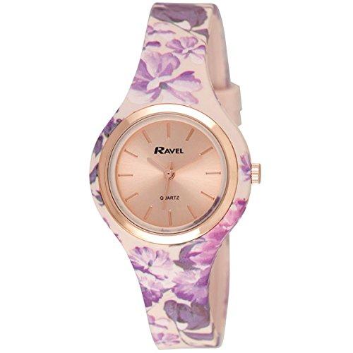 Ravel Damen Rose Gold Floral Sommer Tagen Silikon Armbanduhr Floral Pink r1801 25 F