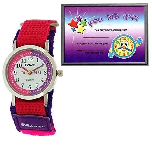 Ravel Kinderzeitlernuhr rosa violett Nylonklettarmband R1507 53 Uhr Lesen Urkunde
