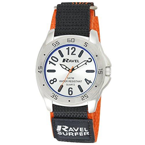 Ravel Herren Surfer 5 ATM Klettverschluss Quarzuhr mit Silber Zifferblatt Analog Anzeige und Nylon Gurt R5 10 8 g