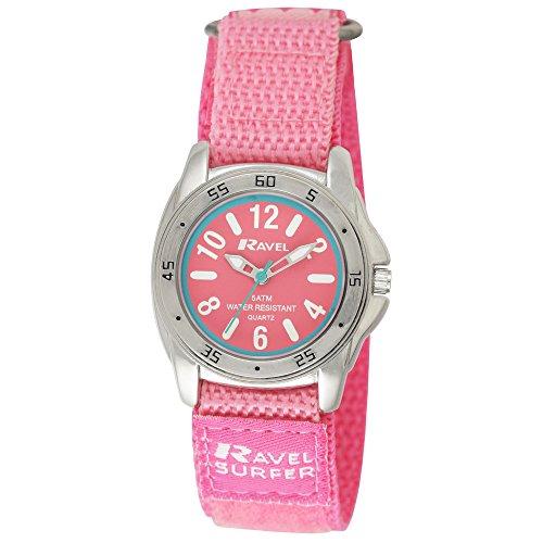 Ravel Girl s Surfer 5 ATM Klettverschluss Quarzuhr mit Baby Pink Zifferblatt Analog Anzeige und Pink Nylon Strap R5 13 15l