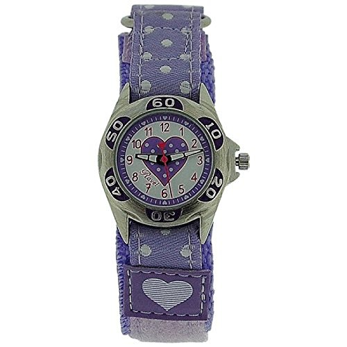 RAVEL Maedchen Zeitlern Armbanduhr mit fliederfarbenen Herzen und Armband mit Klettverschluss R1507 23