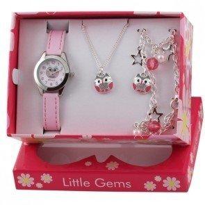 Ravel Little Gems Olly Eule Kinder Quarz Uhr mit weissem Zifferblatt Analog Anzeige und Pink Kunststoff Strap r2225