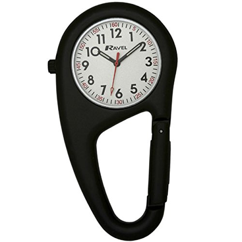 Ravel Unisex Armbanduhr Ravel Matt Black Belt Clip Watch Fully Secure to Fit on your Belt or Backpack Analog Edelstahl Schwarz R1105 03B