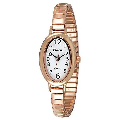 Ravel Rose Gold Cocktail Fashion Damen Quarzuhr mit weissem Zifferblatt Analog Anzeige und Armband Edelstahl vergoldet r0202 44 2