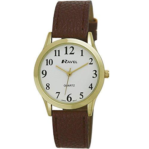 Ravel Fashion Herren Quarz Uhr mit weissem Zifferblatt Analog Anzeige und Kunststoff braun Gurt r0122 02 1