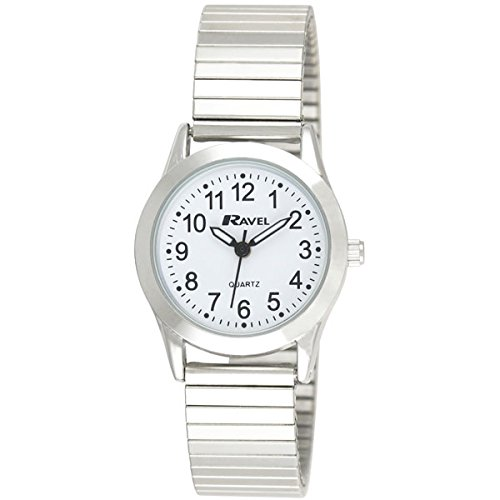 Ravel Damen weiss rund Zifferblatt Silber Expander Armband Armbanduhr r0230 01 2