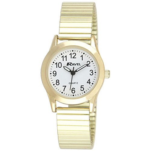 Ravel Damen weiss rund Zifferblatt Golden Expander Armband Armbanduhr r0230 02 2