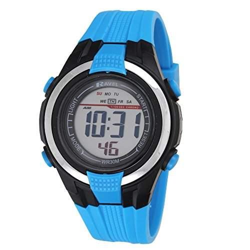 Ravel Jungen Sportliche Digital-Armbanduhr LCD-Display, schwarzes Gehäuse, wasserdicht Kunststoffband RDG-16, Blau