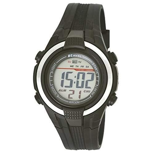 Ravel LCD Digital wasserabweisend Sport Boy s Digital Armbanduhr mit schwarzem Zifferblatt Digital Display und schwarz Kunststoff Gurt rdb-19