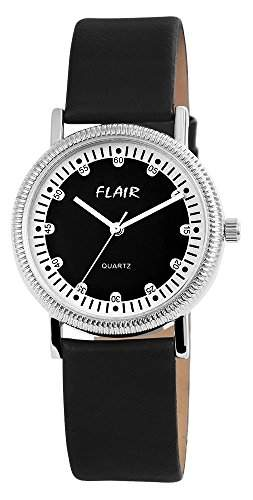 Flair Damenuhr mit Lederimitationarmband Schwarz Armbanduhr Uhr 100321000037