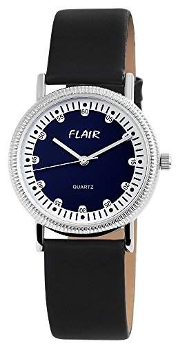 Flair Damenuhr mit Lederimitationarmband Blau Armbanduhr Uhr 100323000037