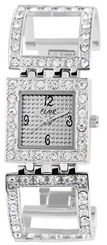 Flair Damenuhr mit Metallarmband Weiss Armbanduhr Uhr 100422000066
