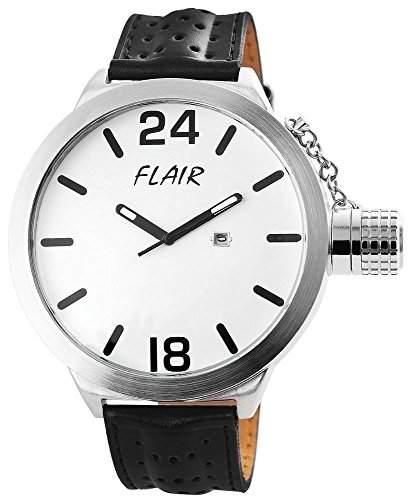 Herrenuhr mit Lederimitationarmband Weiss Armbanduhr Uhr 200322000049
