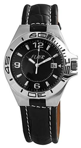 Herrenuhr mit Echtlederarmband Schwarz Armbanduhr Uhr 200721000003