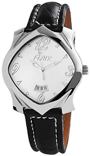 Herrenuhr mit Echtlederarmband Weiss Armbanduhr Uhr 200722500004