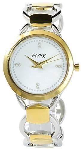 Flair Damenuhr Weiss Gold Analog Metall Armbanduhr Strass Schmuck Mode Quarz Uhr