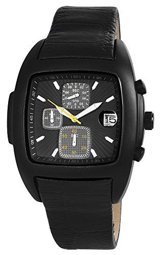 Chronograph mit Echtlederarmband Schwarz Armbanduhr Uhr 200371000019