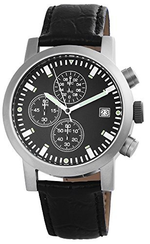 Chronograph mit Echtlederarmband Schwarz Armbanduhr Uhr 200721000031