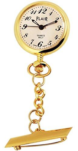 Flair Analog Taschenuhr mit Quarzwerk 100402500401 Goldfarbiges Gehaeuse im Masse 31mm x 9mm mit Ziffernblattfarbe Gold und Mineralglas